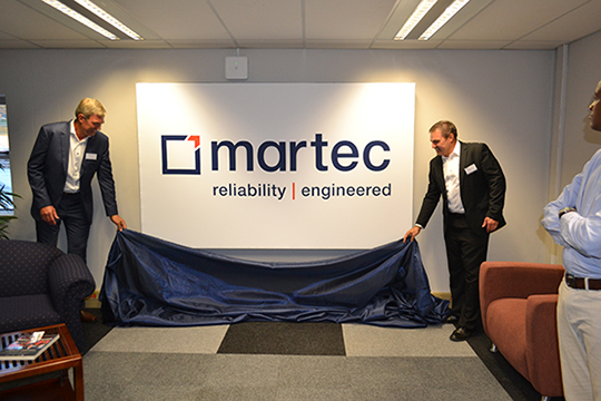 Adriaan Scheeres, CEO of the Pragma Group and Martec MD, Johannes Coetzee, unveil the new Martec logo.